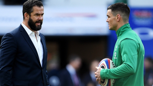 Ireland head coach Andy Farrell (L) with Johnny Sexton