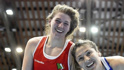 Aoife O'Rourke, left, and Sennur Demir of Turkey following their women's middleweight quarter-final