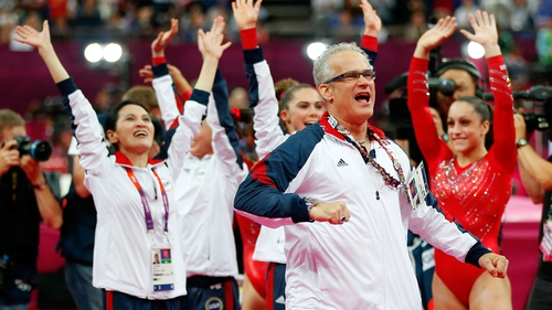 John Geddert with his USA Gymnastics team at the 2012 Olympic Games
