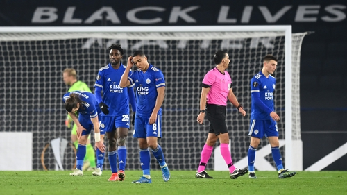 Youri Tielemans reacts as Leicester City bow out of the Europa League