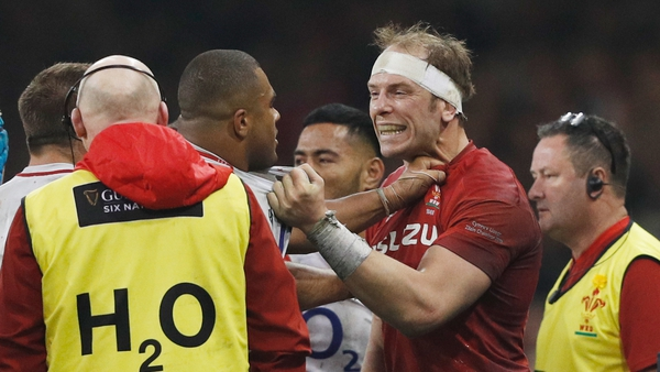 Kyle Sinckler and Alun Wyn Jones square off during the 2019 Six Nations clash
