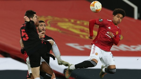 Teenager Shola Shoretire leaps highest against Real Sociedad at Old Trafford