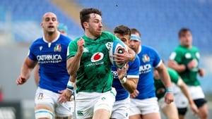 Hugo Keenan races away for Ireland's second try
