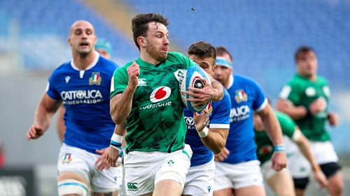 Keenan runs in for his fourth try in Ireland colours