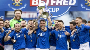 St Johnstone's Jason Kerr lifts the Betfred Cup final