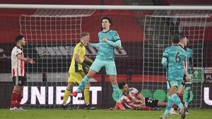 Curtis Jones celebrates Liverpool's opening goal