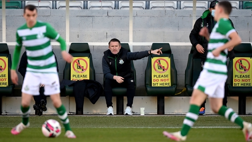 Robbie Keane on the Rovers bench during the Hoops 2-1 pre-season friendly win over Cork City