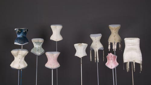 A selection of late 19th and early 20th century wedding corsets. Photo: Chicago History Museum/Getty Images