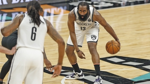 James Harden in action against San Antonio Spurs