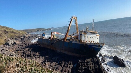 MV Alta washed ashore in the aftermath of Storm Dennis last year