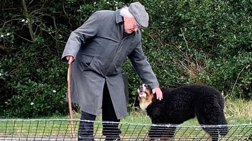 President Michael D Higgins with his new five-month-old puppy, Misneach (Pic: Extra.ie)