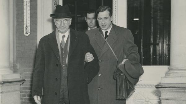 Former President Eamon de Valera with his son, gynaecologist Eamonn de Valera Jr (Photo: Courtesy UCD & OFM)