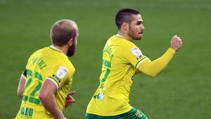 Emi Buendia celebrates his goal for the Canaries