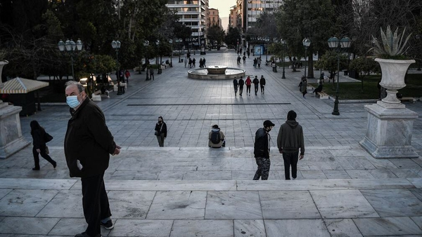 Few people in Syntagma Square - the central square in Athens - as the government extended lockdown measures