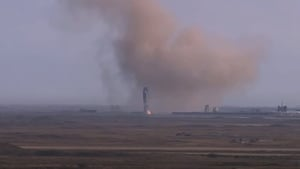 As seen on SpaceX video, the rocket appeared to have otherwise landed properly after its flight (Pic: SpaceX YouTube)