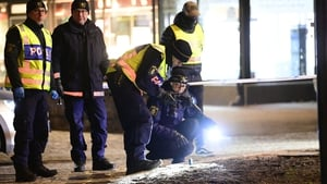 Police at the scene of the attack