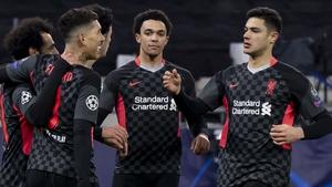 Liverpool won the first leg 2-0 at Puskas Arena