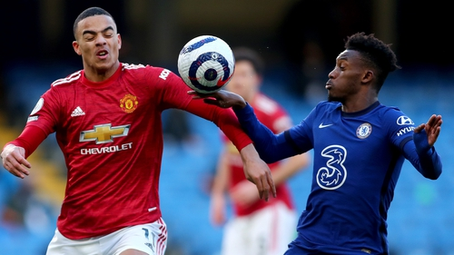 No penalty was given after the ball appeared to hit Callum Hudson-Odoi's hand against Manchester United