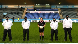 Siobhan Coyle (C) and her Umpires before the 2020 All-Ireland junior ladies football final