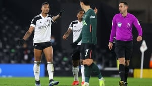 Mario Lemina reacts after a Fulham goal against Tottenham on Thursday night was disallowed for handball