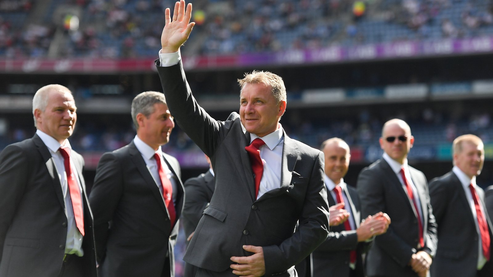 Image - Kieran McKeever and the Derry 1993 All-Ireland winning team who were honoured at Croke Park in 2018