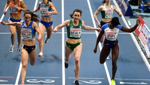 Phil Healy winning her semi-final in the 400m from Andrea Miklos of Romania, left, and Amarachi Pipi of Great Britain