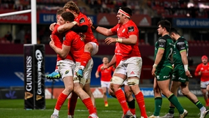 Mike Haley celebrates with Munster team-mates after his individual try against Connacht