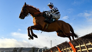 French Aseel, with Denis O'Regan up, clears a hurdle at Leopardstown last December