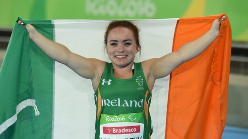 Niamh McCarthy celebrates after winning silver in Rio