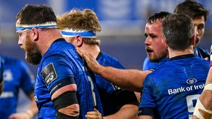 Michael Bent is congratulated by Leinster team-mates after his try against Ulster