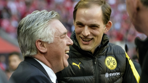 Carlo Ancelotti (L) and Thomas Tuchel pictured on the sidelines when they were both managing in the Bundesliga in 2017