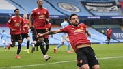 Bruno Fernandes celebrates his early penalty against Manchester City