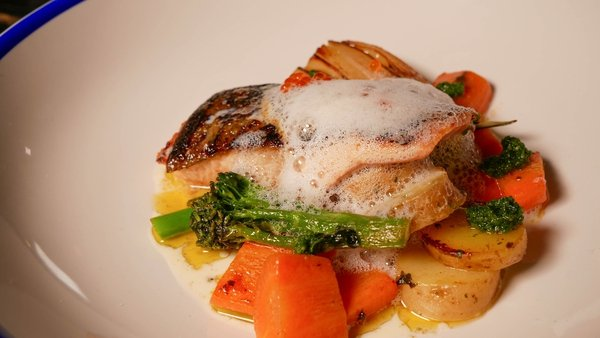 Kevin Dundon's seared rainbow trout with sautéed veg.