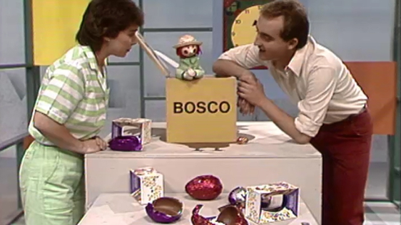 Bosco with Easter eggs in 1988.