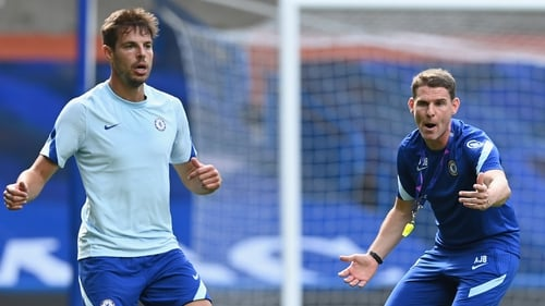 Anthony Barry (R) during a Chelsea training session at Stamford Bridge