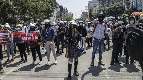 Demonstrators during a protest in Yangon, Myanmar