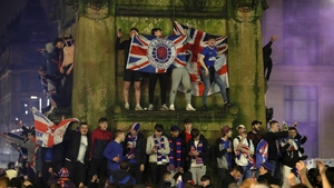 Fans congregated in George Square and outside Ibrox Stadium after Rangers took their first top-flight title in 10 years