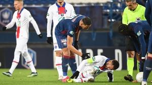 Neymar down injured in last month's cup tie against Caen