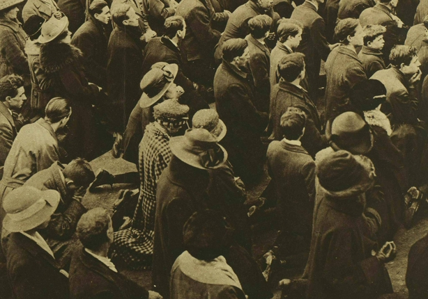 Detail of the front cover of the Illustrated London News showing a large crowd praying outside Mountjoy Gaol Photo: Illustrated London News [London, England], 19 March 1921