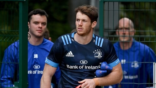 Ryan Baird is followed by James Ryan and Devin Toner at Leinster training last October