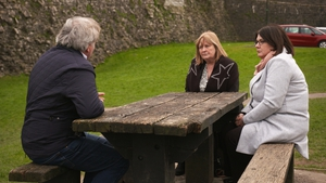 Ger and Marie Gallagher speaking after the sentencing of Seán Barrett in March