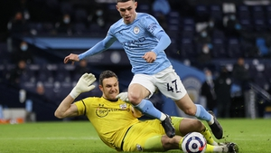 Alex McCarthy (L) appeared to foul Man City's Phil Foden