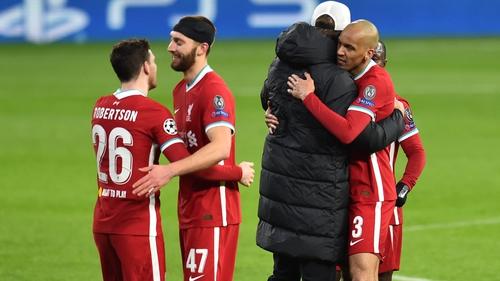 Jurgen Klopp hugs Fabinho after Liverpool beat RB leipzig