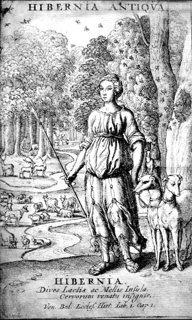 Hibernia illustration from the 17th century