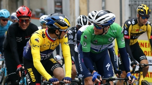Primoz Roglic and Sam Bennett sporting the Yellow and Green jerseys respectively