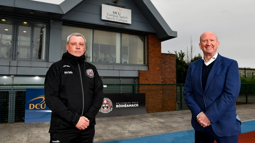 Bohemians manager Keith Long (L) and Ken Robinson, CEO DCU Sport, at the DCU Sport Centre