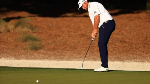 Shane Lowry putting on the 14th green