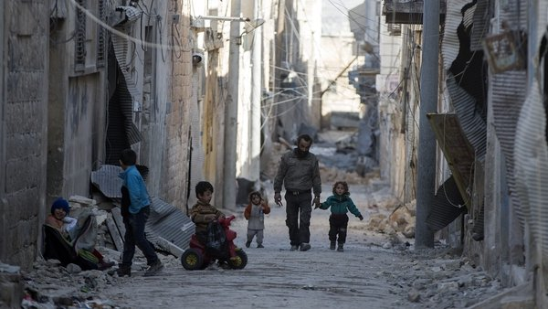 Civilians in Al Bab after the town was freed from Daesh terrorists by Free Syrian Army (FSA) February 2017