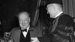 Winston Churchill (left) in Fulton, Missouri where he first mentioned the words 'Iron Curtain' in 1946 - Harry Truman is also pictured