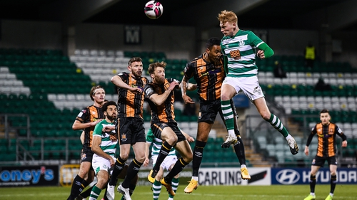 Shamrock Rovers have won just one of their three league games so far this season - Liam Scales in action here against Dundalk
